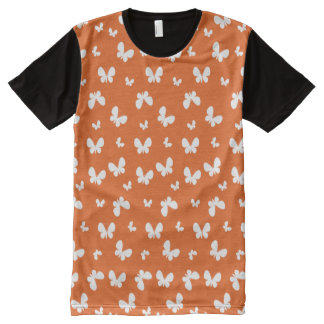 Cute orange Butterfly Pattern All-Over Print T-Shirt