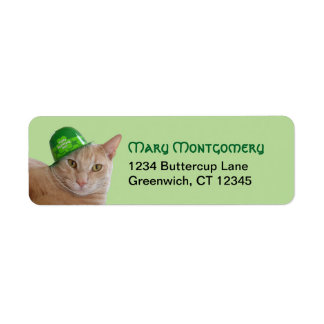Cute Orange Cat Wearing a Green Irish Hat Return Address Label