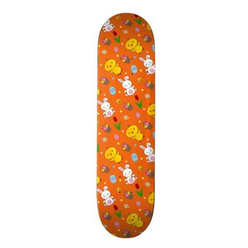 Cute orange chick bunny egg basket easter pattern skate board deck