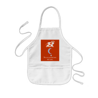 Cute Orange Cow Jumping Over The Moon Kids Apron