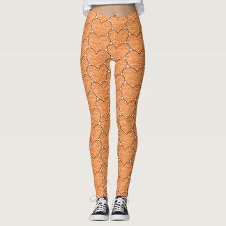 Cute Orange Crayon Hearts Pattern Leggings