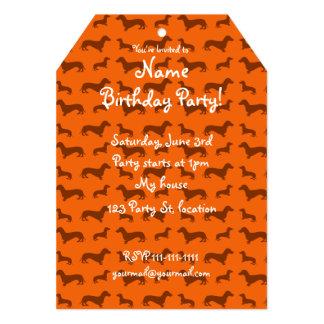 "Cute orange dachshund pattern 5"" x 7"" invitation card"