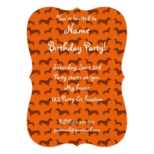 Cute orange dachshund pattern announcement