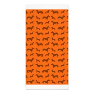 Cute orange dachshund pattern photo card