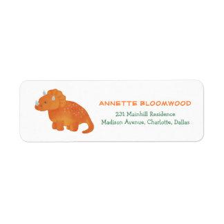 Cute Orange Dinosaur Watercolor Drawing Return Address Label