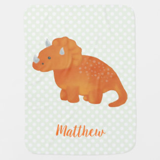 Cute Orange Dinosaur Watercolor Polka Dot Pattern Baby Blanket