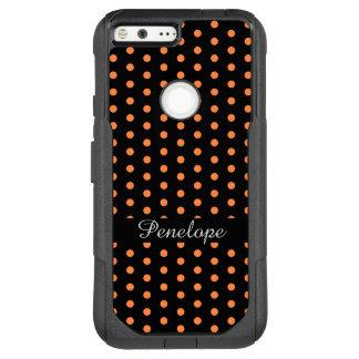 Cute Orange DotsPattern Add your name OtterBox Commuter Google Pixel XL Case