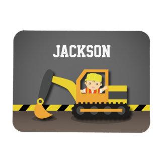 Cute Orange Excavator Construction Builder Boy Rectangular Photo Magnet