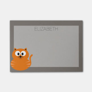 Cute Orange Fat Cat with Taupe Personalized Post-it Notes