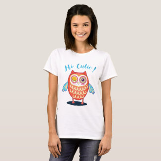 Cute Orange Flirty Winking Eye Owl T Shirt