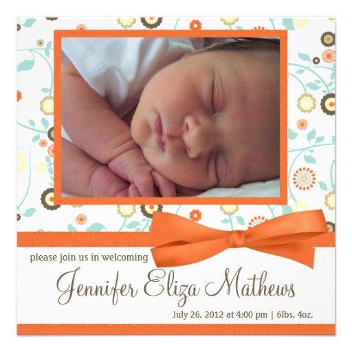 Cute Orange Flower Pattern Baby Girl Announcement