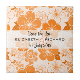 Cute orange flowers Save the date Tile