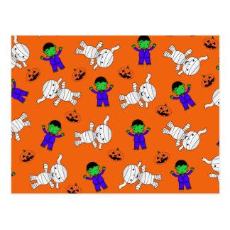 Cute orange Frankenstein mummy pumpkins Post Cards
