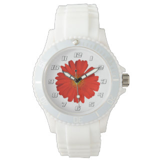 Cute Orange Gerbera Flowers with numbers Watches