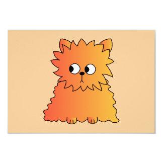 Cute Orange Long Hair Cat. 9 Cm X 13 Cm Invitation Card