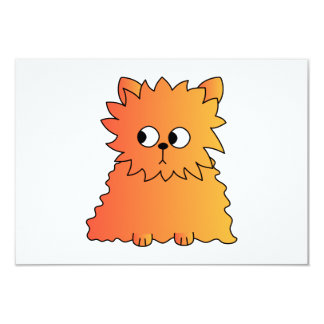 Cute Orange Long Hair Cat. 9 Cm X 13 Cm Invitation Card
