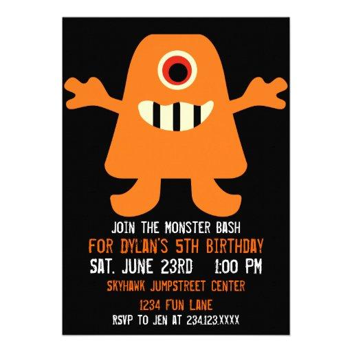 Cute Orange Monster Birthday Party Invitations