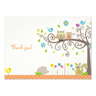 Cute Orange Owl Neutral Baby Shower Thank You Card