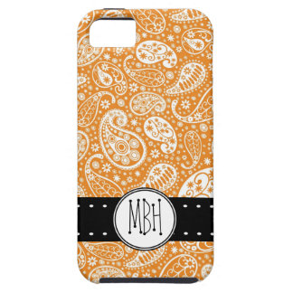 Cute Orange Paisley Pattern with Personalization iPhone 5 Cover