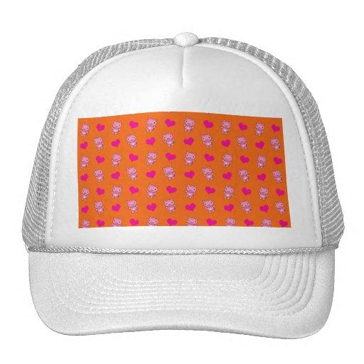 Cute orange pig hearts pattern hat