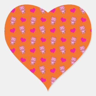 Cute orange pig hearts pattern heart sticker