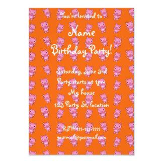 Cute orange pig pattern 13 cm x 18 cm invitation card