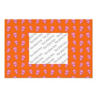 Cute orange pig pattern art photo