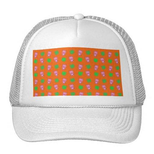 Cute orange pig shamrocks pattern trucker hat