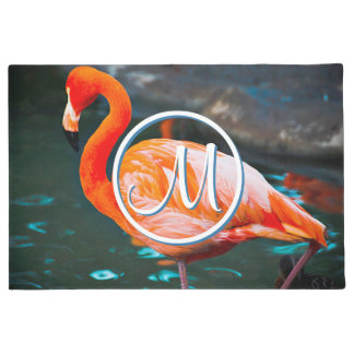 Cute orange pink flamingo photo custom monogram doormat
