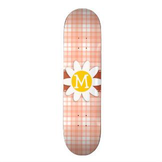 Cute Orange Plaid Daisy Skate Deck