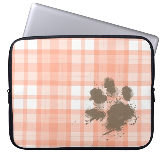 Cute Orange Plaid; Funny Dog Laptop Sleeve
