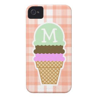 Cute Orange Plaid; Ice Cream Cone iPhone 4 Covers