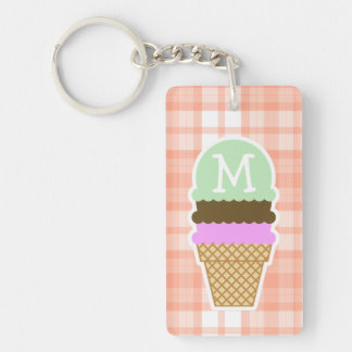 Cute Orange Plaid; Ice Cream Cone Key Ring