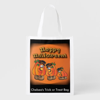 Cute Orange Pumpkins Guys Reusable Grocery Bag
