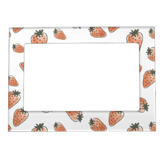 CUTE ORANGE RED WATERCOLOUR STRAWBERRIES MAGNETIC FRAME