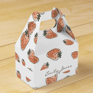 CUTE ORANGE RED WATERCOLOUR STRAWBERRIES MONOGRAM FAVOUR BOX