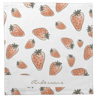 CUTE ORANGE RED WATERCOLOUR STRAWBERRIES MONOGRAM NAPKIN
