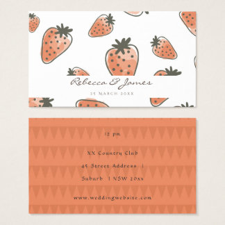 CUTE ORANGE RED WATERCOLOUR STRAWBERRIES wedding Business Card