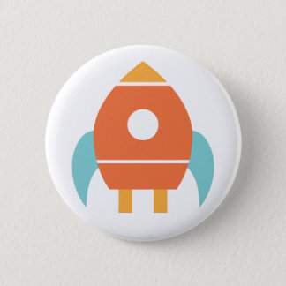 Cute Orange Rocketship Spaceship 6 Cm Round Badge