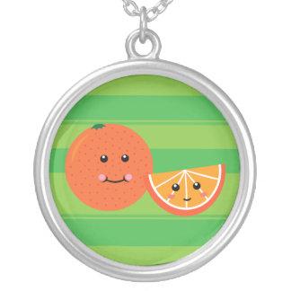 Cute Orange Round Pendant Necklace