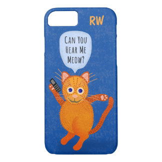 Cute Orange Tabby Cat Cartoon Meow Pun Monogram iPhone 7 Case