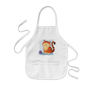 Cute Orange Tabby Cat Kids Apron