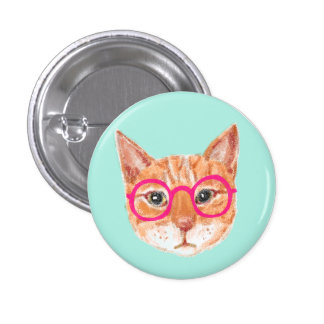 Cute Orange Tabby Cat Wearing Glasses 3 Cm Round Badge