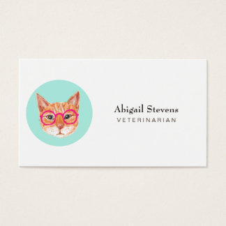 Cute Orange Tabby Cat Wearing Glasses Business Card