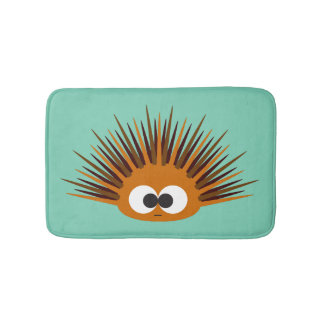 Cute Orange Urchin Bath Mat