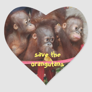 Cute Orangutan Babies Heart Sticker