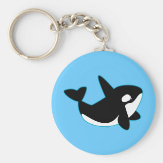 Cute Orca (Killer Whale) Basic Round Button Key Ring
