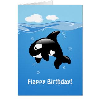 Cute Orca Whale Happy Birthday Card