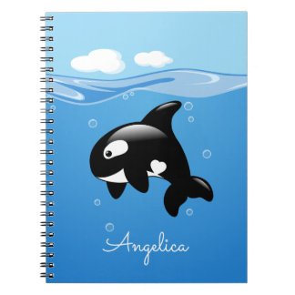Cute Orca Whale in Ocean with Custom Name Notebook