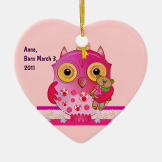 Cute ornament with Baby owl and text Born Baby